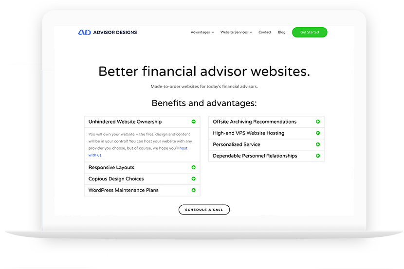 Advisor Designs website redesign launch