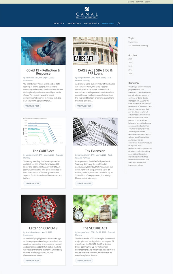 Advisor Designs' Website Redesign Case Study Blog page