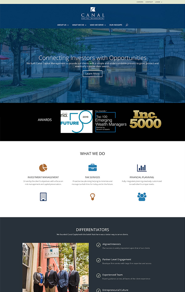 Advisor Designs' Website Redesign Case Study Home page
