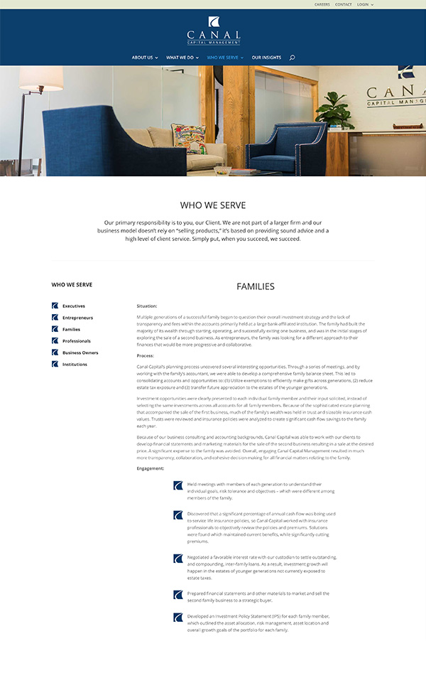 Advisor Designs' Website Redesign Case Study Who We Serve page
