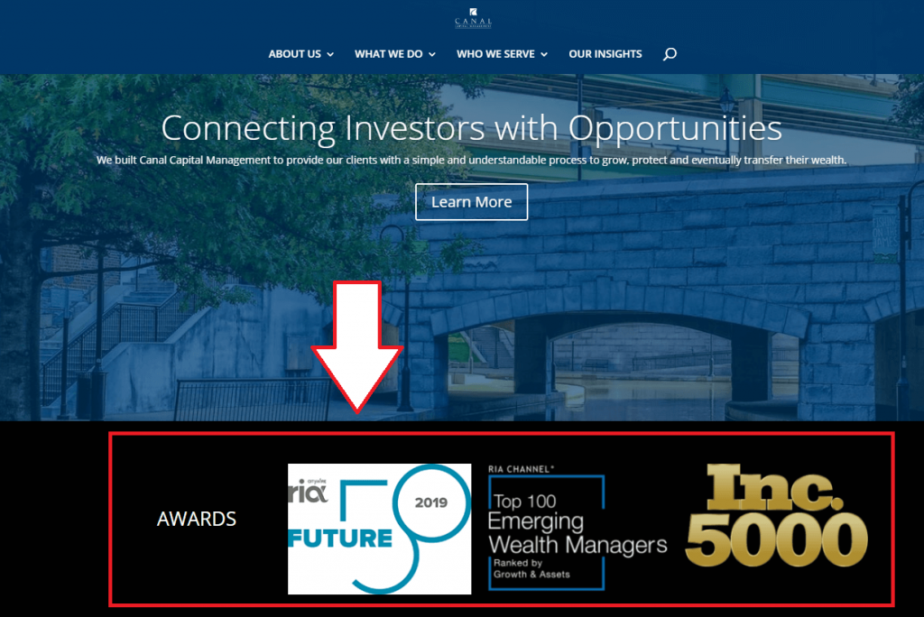 web page with award logos highlighted