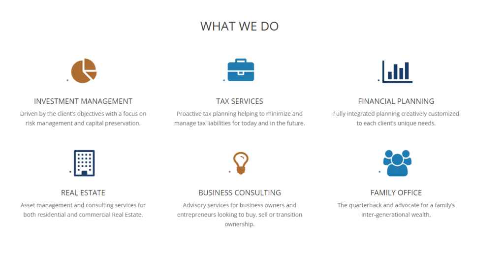 web page with services highlighted