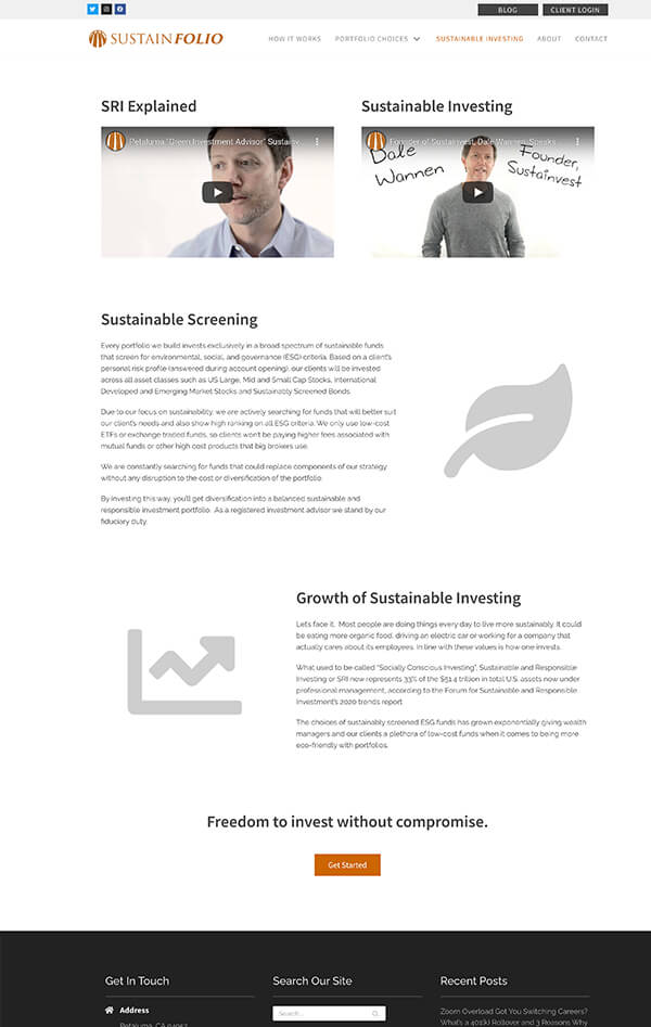 Advisor Designs' Website Redesign Case Study Investing page